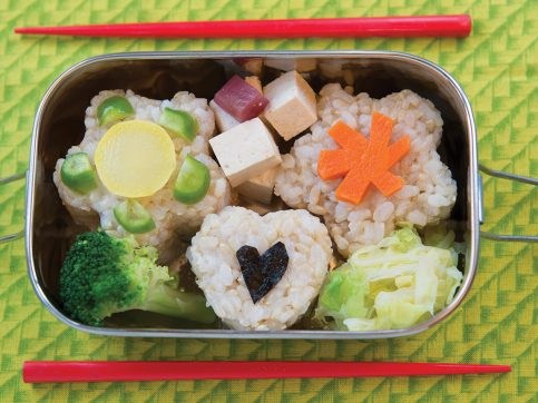 bentos with tofu, vegetables, and rice