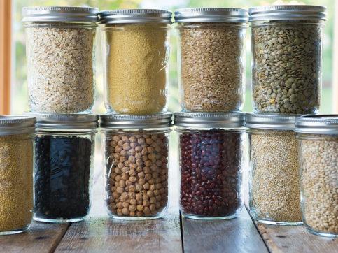 dry ingredients in glass jars