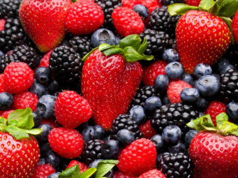 strawberries, blueberries, raspberries, blackberries