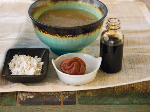 kuzu, plum paste, soy sauce, and water