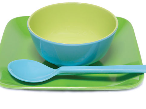 plastic plate, bowl, and spoon