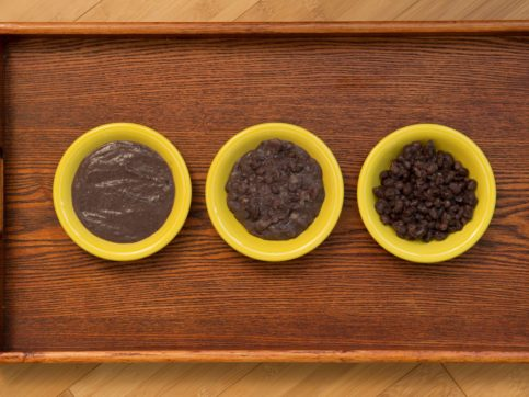 organic sprouted aduzki beans in bowls